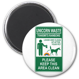 Unicorn Waste Sign 6 Cm Round Magnet