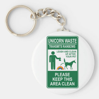 Unicorn Waste Sign Basic Round Button Key Ring