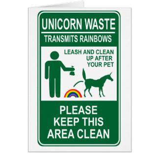 Unicorn Waste Sign Greeting Card