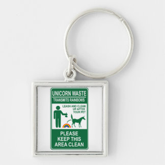 Unicorn Waste Sign Keychains