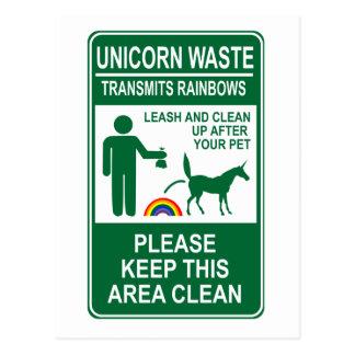 Unicorn Waste Sign Postcard