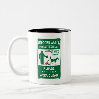 Unicorn Waste Sign Two-Tone Mug