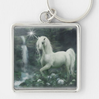 Unicorn Waterfall Square Keychain