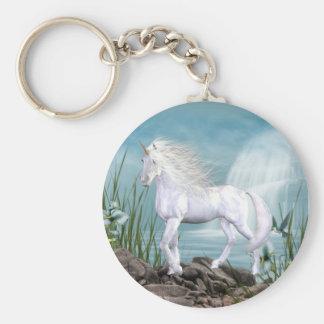 Unicorn White Beauty Basic Round Button Key Ring