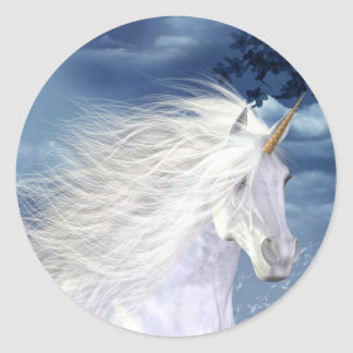 Unicorn White Beauty Close-up Round Sticker