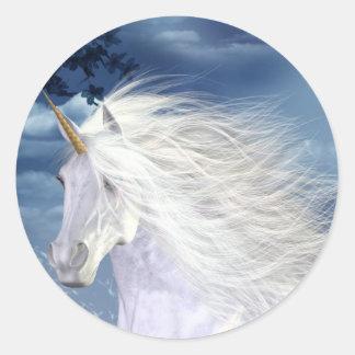 Unicorn White Beauty Close-up Round Sticker