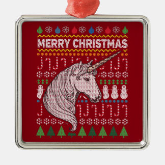 Unicorn Wildlife Merry Christmas Ugly Sweater Silver-Colored Square Decoration