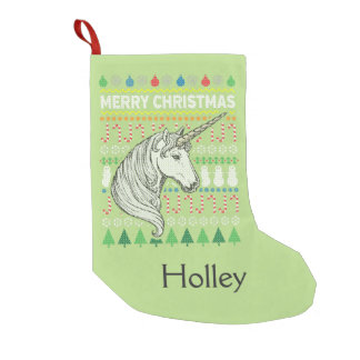 Unicorn Wildlife Merry Christmas Ugly Sweater Small Christmas Stocking