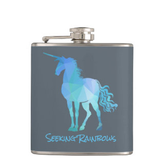 Unicorn With Changeable Text Hip Flask