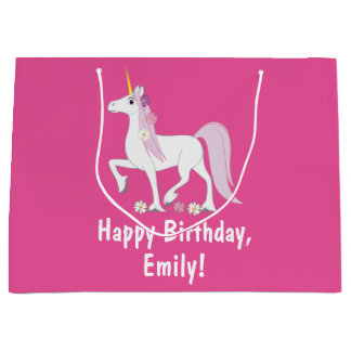 Unicorn with Daisies Birthday Name Customizable Large Gift Bag