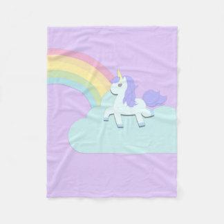 Unicorn with Rainbow Fleece Blanket