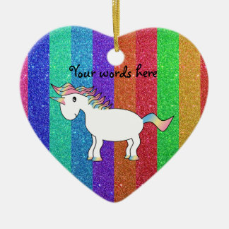 Unicorn with rainbow glitter stripes christmas ornament