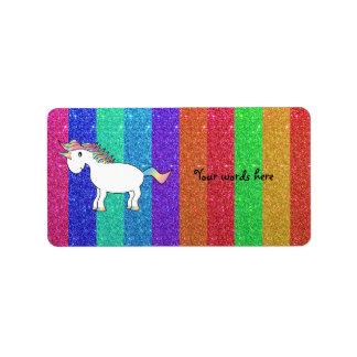 Unicorn with rainbow glitter stripes label