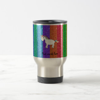 Unicorn with rainbow glitter stripes travel mug