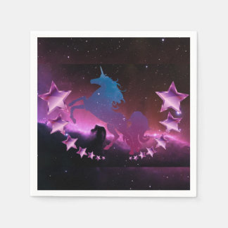 Unicorn with stars disposable napkin