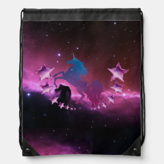 Unicorn with stars drawstring bag