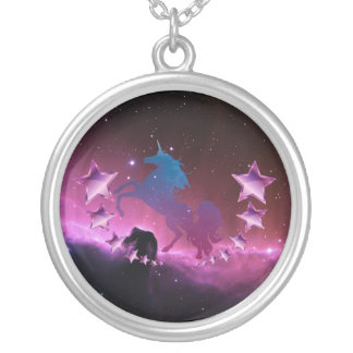 Unicorn with stars silver plated necklace