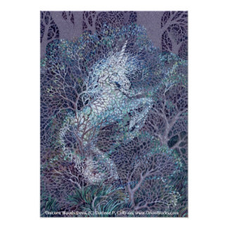 Unicorn Woods Deva, by Darlene P. Coltrain Poster