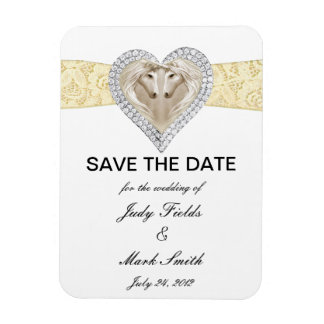 Unicorn Yellow Lace Save The Date Magnet