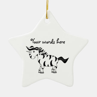 Unicorn zebra christmas ornament