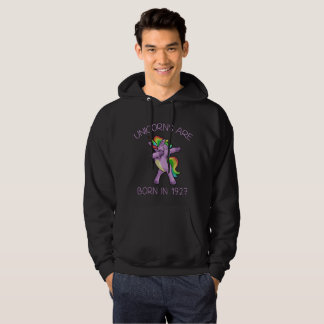 Unicorns are Born in 1927 Cute Dabbing Dance Pose Hoodie