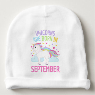 Unicorns are Born in September Cute Unicorn Baby Beanie