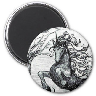 Unicorns Black Unicorn Black & White Drawing 6 Cm Round Magnet