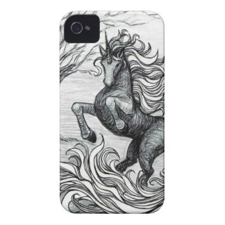 Unicorns Black Unicorn Black & White Drawing Case-Mate iPhone 4 Case