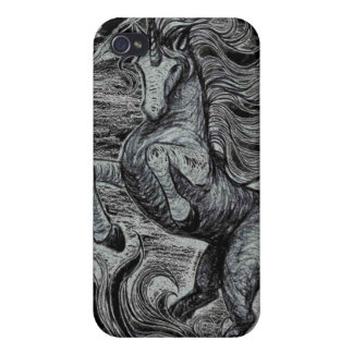 Unicorns Black Unicorn Black & White Drawing iPhone 4 Cover