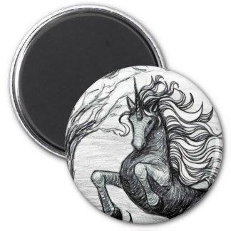 Unicorns Black Unicorn Black & White Drawing Magnet