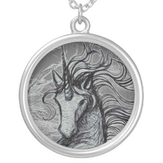 Unicorns Black Unicorn Black & White Drawing Silver Plated Necklace