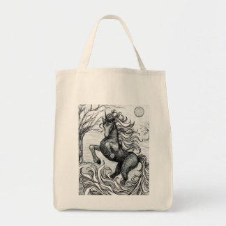 Unicorns Black Unicorn Black & White Drawing Grocery Tote Bag