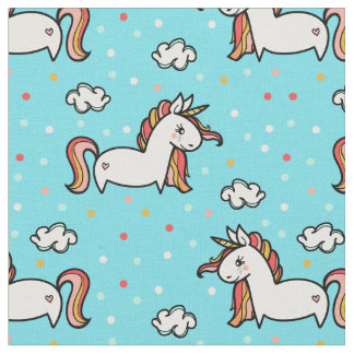 Unicorns & Confetti Blue Pattern Fabric