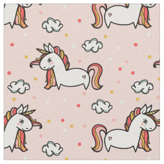 Unicorns & Confetti Blush Pink Pattern Fabric