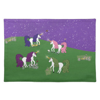 Unicorns in Field Under Purple Sky Cartoon Art Placemat
