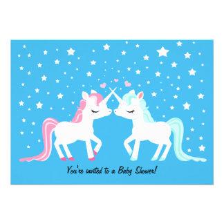 Unicorns in love baby shower custom announcement