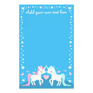 Unicorns in love customisable stationary stationery