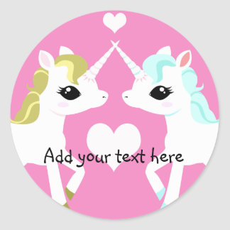 Unicorns in love customisable sticker