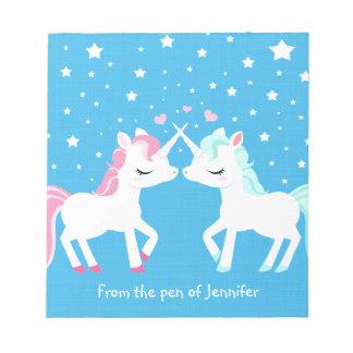 Unicorns in love Notepad customisable