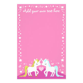 Unicorns in love pink customisable stationary stationery