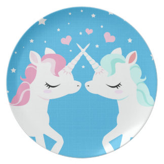 Unicorns in love plate