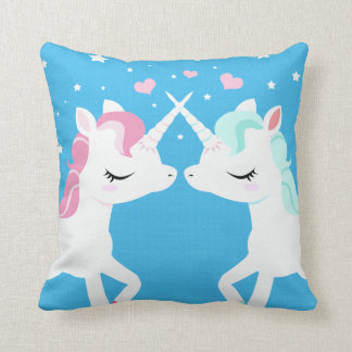 Unicorns in love throw pillow