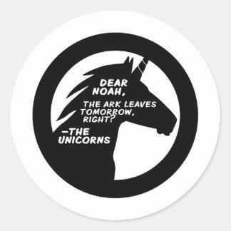 Unicorns Missed the Ark Classic Round Sticker