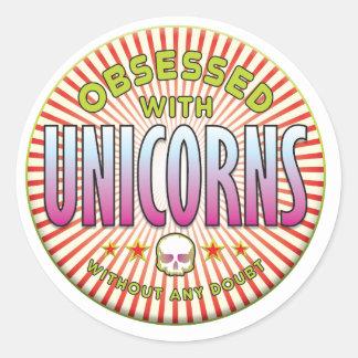 Unicorns Obsessed R Round Stickers