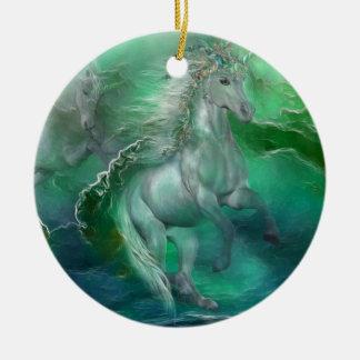 Unicorns Of The Sea Holiday Ornament