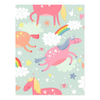 Unicorns & Rainbow Postcard