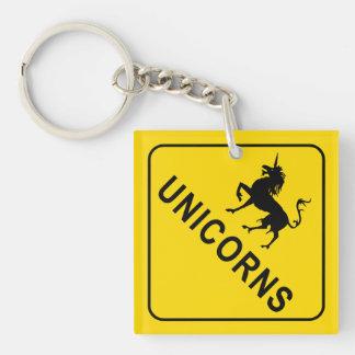 Unicorns Road Sign Key Ring