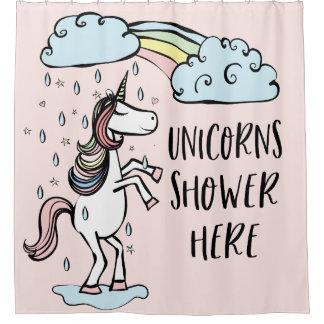 Unicorns Shower Here Shower Curtain