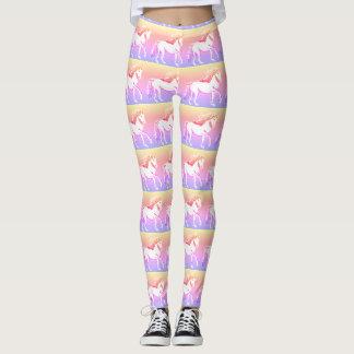 Unicorns Whimsical Sunset Print Leggings