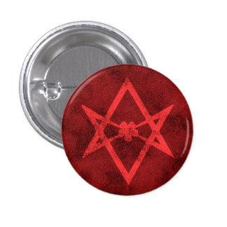 Unicursal Hexagram (Red Textured) 3 Cm Round Badge